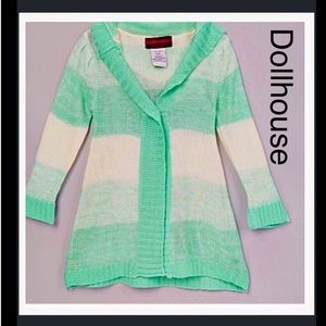 NWT Girls Green Stripe Hooded Sweater Cardigan